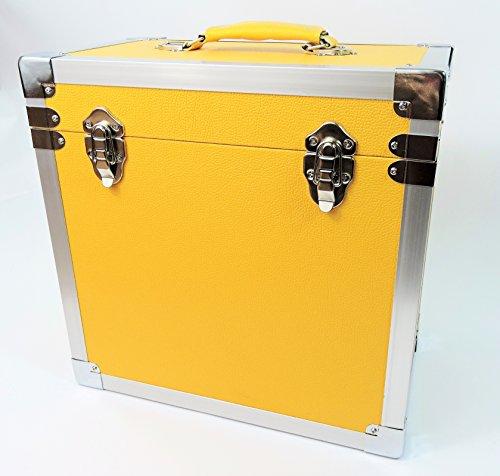 Caja amarilla de DJ para LPs y discos de vinilo