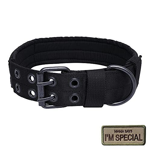 CJBIN Collares de Perro Nylon, Collar para Perro Perros Grandes Anti Desgaste Entrenamiento Táctico al Aire Libre, Collar Perro Ancho para Perros Medianos / Grandes, Cuello 75CM (XL)