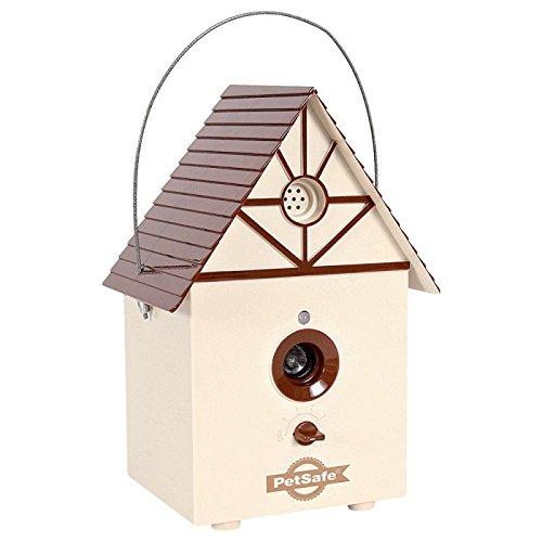 Wangado - Antibell Antiabbaio ad ultrasuoni per esterno Dispositivo da addestramento. Riconosce l'abbaio, trasmette segnale ultrasuono di disturbo. A batteria. A forma di casetta per gli uccelli. Da appendere, al chiuso o all'esterno.