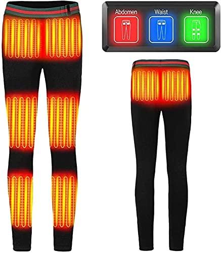 SKYWPOJU Pantalones térmicos USB Pantalones cálidos térmicos eléctricos Pantalones deportivos casuales más Pantalones térmicos eléctricos de fibra de carbono de terciopelo Pantalones para hombres y mu