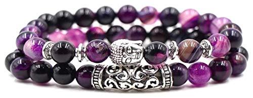 NIANXINN Pulsera de Piedra Mujer, 7 Chakra Piedra Natural Brazalete Bangle Beads Pulseras de ágata púrpura Pulseras Elástica Charm Yoga Amistad Buda Cabeza Joyería Mujeres Pulsera de Chakra