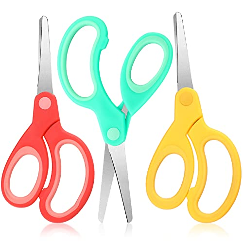 Left Handed Stainless Steel Scissors 6 Inch Lefty Soft Grip Office Scissors Craft Pointed Shears Scissors for Office Home Household School Supplies (3 Pieces)