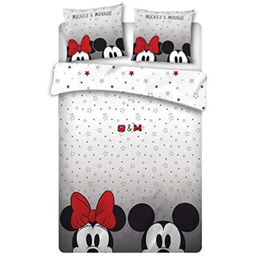 Funda de edredón Mickey y Minnie para adulto, 220 x 240 cm, 2 personas, 100% microfibra de alta calidad