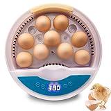 MMSAWA 自動孵卵器 インキュベーター 検卵ライト内蔵 孵化率アップ 鳥類専用ふ卵器 孵化器 9個入卵OK ヒヨコ生まれ 子供教育用 大容量 自動温度制御 湿度保持 デジタル表示 鶏卵 アヒル うずら 家庭用 詳しい日本語説明書付き