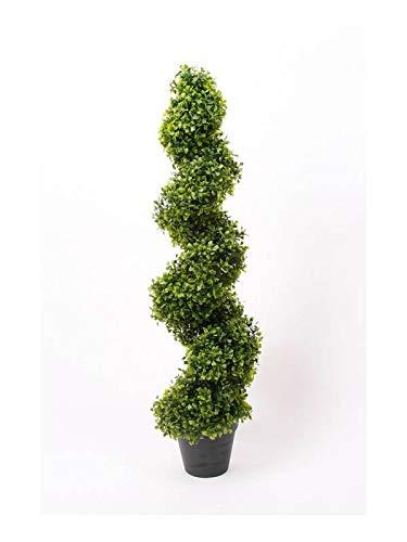 artplants.de Kunstpflanze Buchs Spirale Heinz, 95cm - Buchsbaum Spirale Künstlich - Deko Buchs - Säule