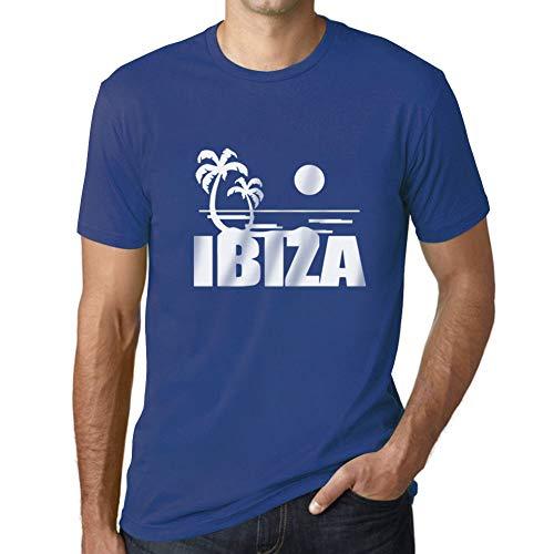 Ultrabasic - Camiseta para Hombre Ibiza Impreso Letras Vacaciones Azul Real