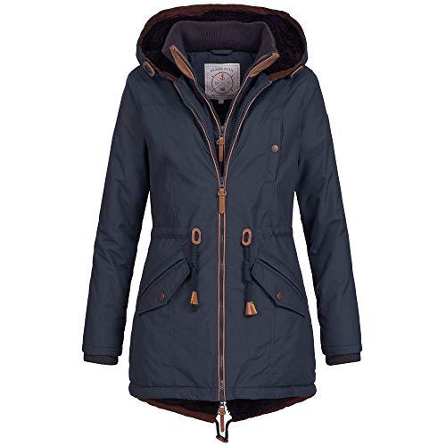 Ausnahme-Zustand Azuonda Damen Mantel Winterjacke Parka Jacke warm Wintermantel Doublezipper gefüttert XS-XXL OM34, Farbe:Navy, Größe:XL / 42