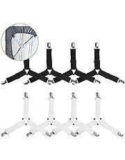Beinhome 8 stuks lakenspanners met metalen clips, 3-voudig verstelbare driehoekige lakendragers, elastische lakendragers voor beddengoed, matrashoezen en sofakussens (zwart & wit)