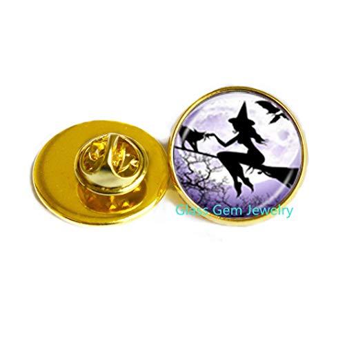 Broche de bruja sexy con escoba, broche de luna llena Wiccan Pagan Jewelry de cristal cabujón suéter cadena broche gato joyería Q0235