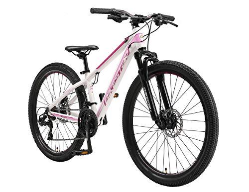 BIKESTAR Hardtail Mountain Bike in Alluminio, Freni a Disco, 26' | Bicicletta MTB Telaio 13' Cambio Shimano a 21 velocità, sospensioni | Bianco