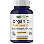 Organic Turmeric Curcumin Capsules High Strength 1350mg with Black Pepper (95% Piperine for Max Immune Support), Ashwagandha, Ginger & Flaxseed, Turmeric Supplement, Organic – 120 Vegan Capsules