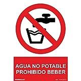 RD46616 - Señal Adhesiva Agua No Potable Prohibido Beber Adhesivo de Vinilo 10x15 cm con CTE, RIPCI Nueva Legislación
