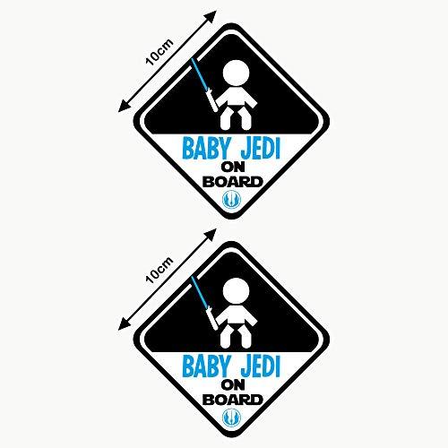 Autodomy Adesivi Baby Jedi Bambino Baby On Board Bimbo a Bordo Baby in Car Confezione 2 Pezzi per Auto (Uso Esterno)