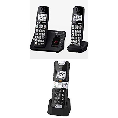 Panasonic KX-TGE432B DECT 6.0 Expandable Cordless Phone with Answering Machine, Call Block, 2 handsets and Additional KX-TGTA61B Rugged Cordless Phone Handset