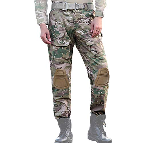 COZYJIA Airsoft Taktisch Hose, Herren Shooting Camo Combat BDU Combat Pants Hose mit 2 Stück Kniepolster für Tactical Military Army Airsoft Paintball