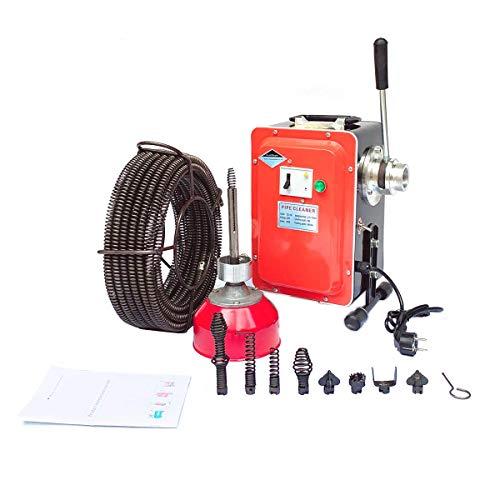 TABODD 650W Rohrreinigungsmaschine Auger Ablassen, 400 U/min Elektrische Hochdruckreinigungsmaschine Rohre Pipeline Baggermaschine mit 8 Bohr- und Schneidköpfe für 20mm - 130mm Abflussrohre