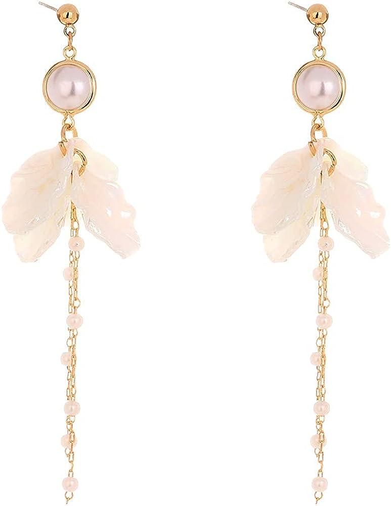 Temperament Petal Shell Drop Earrings Sweet and Fresh Pearl Earrings Long Drop Dangle Earrings chain long tassel earrings for Women Girls