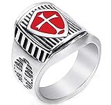 Men's New Popular Crusader Cross Templars Stainless Steel Rings,Size 10