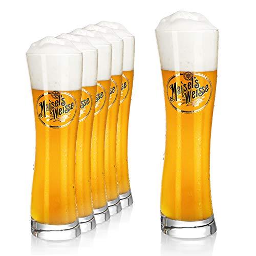 Bicchieri birra da 0,5 l (6 pz)   Bicchieri da birra Maisel Weisse   Calici birra l Bicchieri vetro per birra   Bicchieri in vetro resistenti