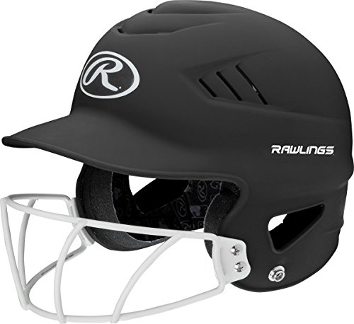 Rawlings Highlighter Series Coolflo Youth Baseball/Softball Batting Helmet with Face Guard, Matte Neon Black