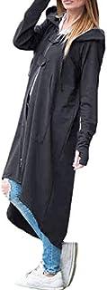 TOOGOO Women Fashion Loose Long Sleeve Zipper Warm Hooded Long Coat Ladies Casual Solid Irregular Long Sweatshirt Jackets Outwear Tops Plus Size Dark Grey 5XL
