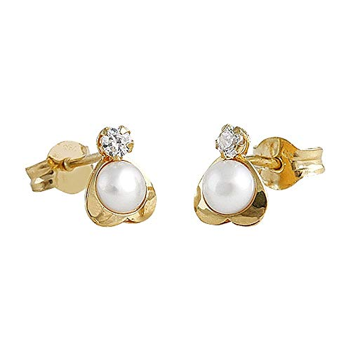 Pendientes oro 18k niña 6.5mm. modelo Tornillería tuyyo perla cultivada circonita corazón