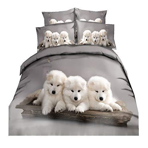 Kinder 2 Stück Bettwäsche Sets135 x 200cm Mikrofaser Polyester Bettbezug Set 1 Person Bettbezug Set mit Reißverschluss (DREI Hunde, 135 x 200cm)