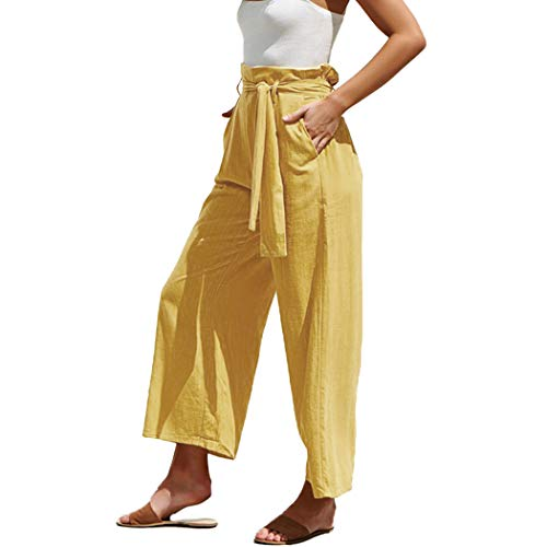 MOLFROA Womens Casual Crop Wide Leg Lace Up High Waisted Dress Pants with Fabric Belt (Yellow,S)