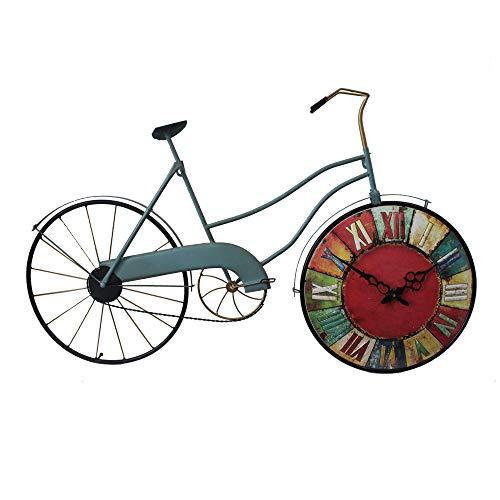 Reloj de pared, la bici del estilo reloj de pared Modelo Industrial retro azul, hechos a mano la bicicleta del metal analógico silencioso reloj de cuarzo, Modern Home Office Decoración de mesa