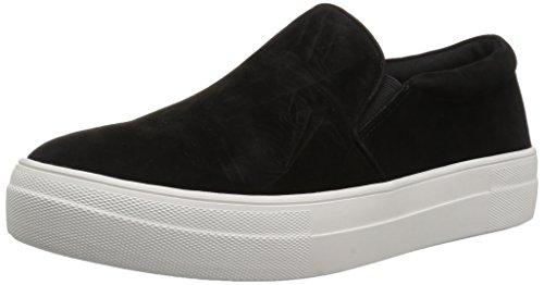 Steve Madden Women's Gills Fashion Sneaker, Black Suede, 8