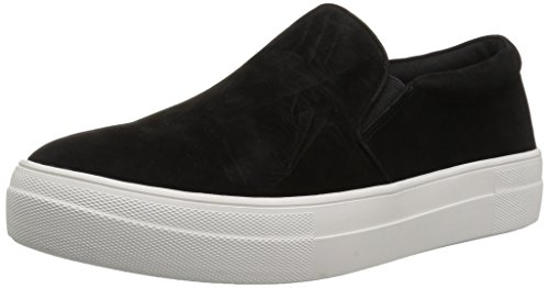 Steve Madden Women's Gills Fashion Sneaker, Black Suede, 6.5