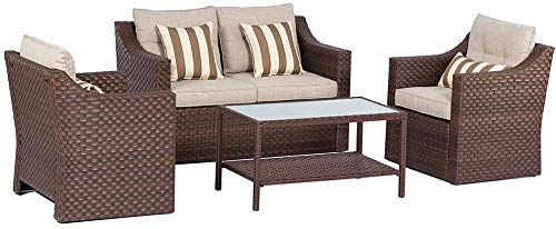 SOLAURA Outdoor Patio Furniture Set 4-Piece Conversation Set All Weather Wicker Furniture Sofa Set with Sophisticated Glass Coffee Table-Brown