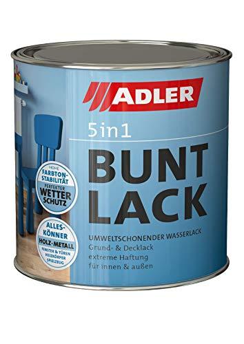 ADLER 5in1 Buntlack - Glänzend - 125 ml - für Innen und Außen - Wetterfester Lack und Grundierung für Holz, Metall & Kunststoff, RAL9005 Tiefschwarz