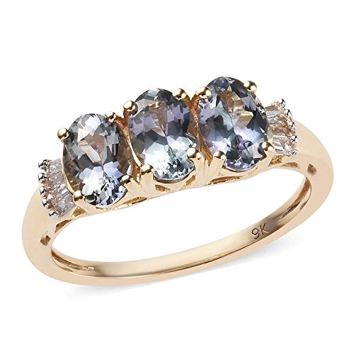 TJC Green Tanzanite 9ct Yellow Gold Three Stone Ring for Women with White Diamond Size O, 1.5 Ct Valentines Day Gift for Girlfriend, Wife, Fiancee