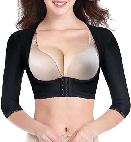 CHUMIAN Hauts Corset Femme Minceur Bras Shaper Manchon Bustier Lingerie pour Post Liposuction Mou du Bras Gaine Correcteur de Posture Support (Noir, XL)