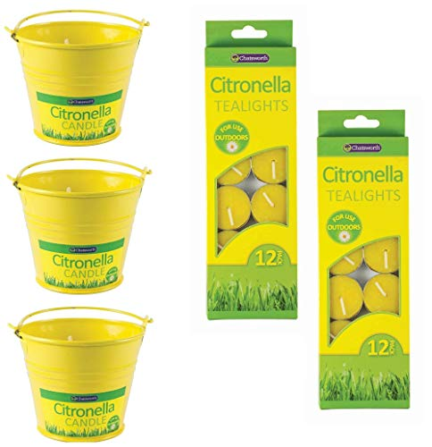 ASCAFO Citronella Candles Outdoors Set for Garden, BBQ, Camping - Fly & Insect Repellent including 3 x Bucket Candle & 24 Tea-lights