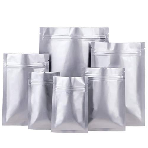 guoda Bolsas Plastico-Bolsas Zip Ziplock Pura de Aluminio Bolsa | Bolsa de Fondo Plano del Papel de Aluminio Sellado | Calidad Alimentaria Materias Primas | Pequeño (100 Piezas) Bolsas de Celofan