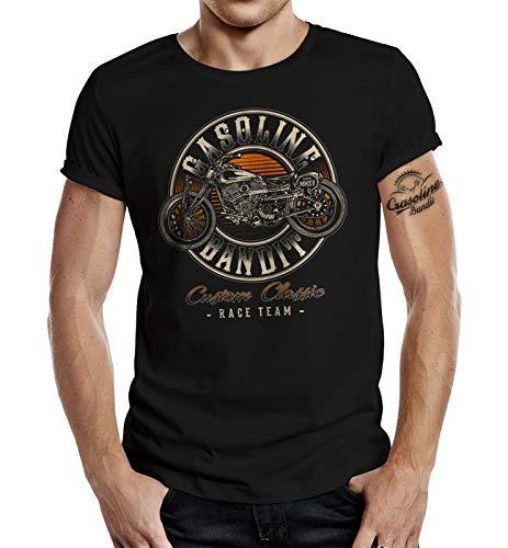 Gasoline Bandit Camiseta de motorista – Custom Classic Race Team Negro XXL