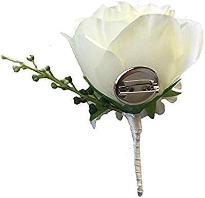 Best Man Rose Pearl Diamante Buttonhole Wedding Groom Guest 5,10,15,20,50,100
