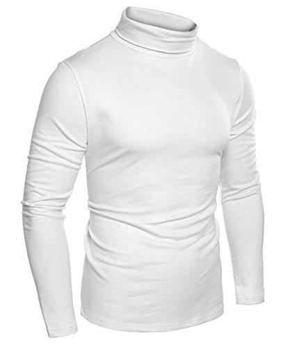 Coofandy Mens Casual Basic Thermal Turtleneck Slim Fit Pullover Thermal Sweaters, White, XX-Large