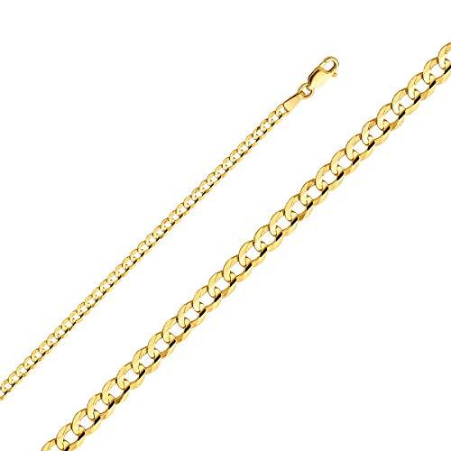 TGDJ- Cadena cóncava Cubana de Oro Amarillo de 14 Quilates, 3 mm, con Cierre de mosquetón