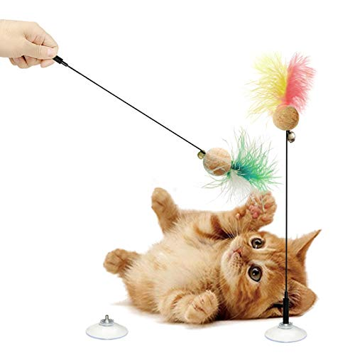 LEKLIT Cat Cork Ball Feather Wand Toys with Strong Suction Cups, Window Kitten Colorful Feathers Bell Toys for Indoor Cats, Detachable Design Cat Teaser Rods. (2Pcs(Mixed Colors, 10inch)