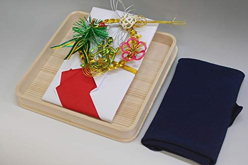 結納金袋(赤白)松竹梅鶴亀・ヘギ台付・正絹ちりめん風呂敷68cm(鉄紺)付き