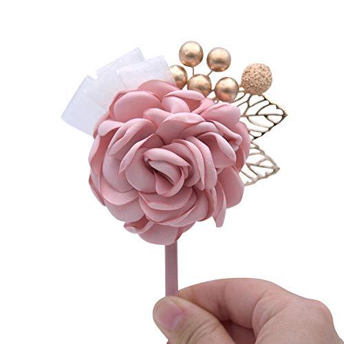 Kunstbloemen Bruiloft Roze Kleur Corsage Met Kralen Bruidsmeisje Groom Voor Bruiloft Party Broches
