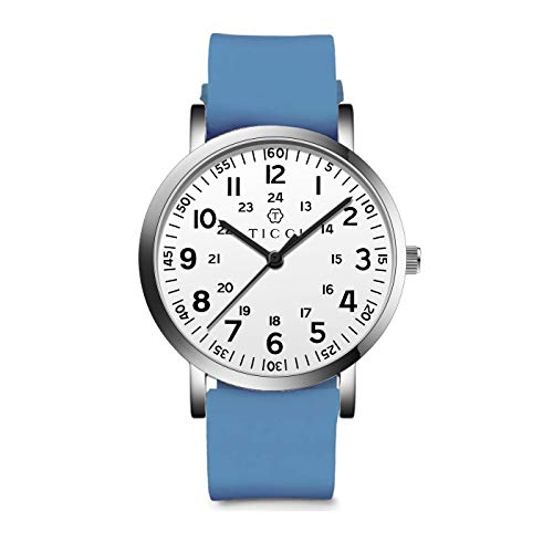 TICCI Unisex Men Women Medical Quartz Watch Arabic Numerals Military Time Easy Read Dial Silicone Band Waterproof for Students Doctors Nurses (Blue White-1)