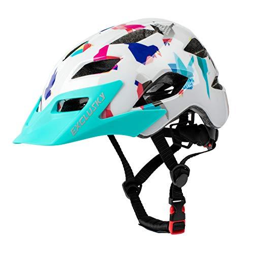 Exclusky Kinder-/Jungen-Fahrradhelme für Fahrrad, Skaten, Roller, verstellbar, 50–57 cm (Alter 5–13 Jahre), blau / weiß