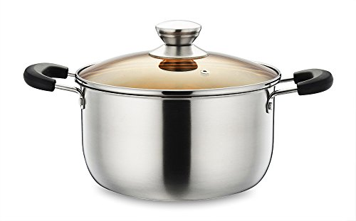 Stainless Steel Stockpot, P&P CHEF 4 Quart Stock Pot with Lid, Heat-Proof Double Handles - Dishwasher Safe