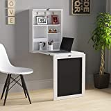 JAXSUNNY Modern Space-Saving Fold Out Convertible Floating Compact Wood Wall-Mounted Folding Desk with Multiple Storage Compartments for Home and Office,Blackboard, White and Black