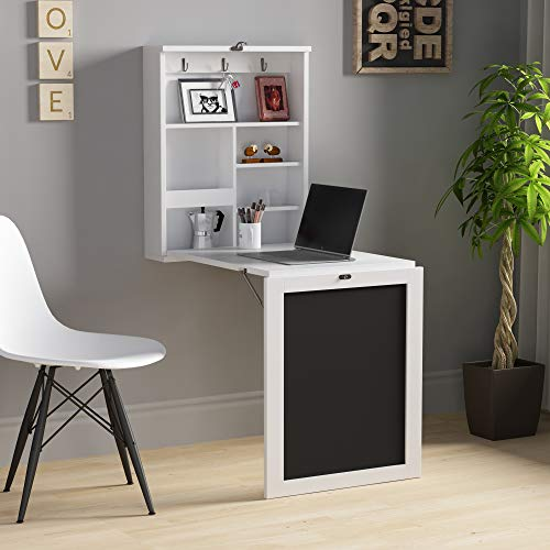 Modern Wood Wall Mounted Desk, Folding Computer Table Convertible Desk Cabinet Laptop Desk with Storage Bookcase & Chalkboard, Convertible Writing Desk, Home Office Furniture, White + Black