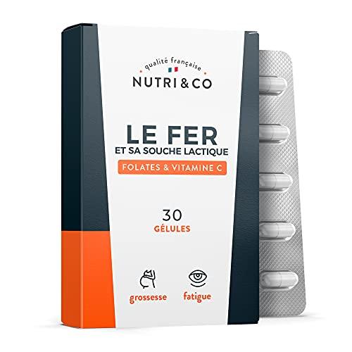 Le Fer et sa Souche Lactique + Acide Folique + Vitamine C   Sans Troubles Digestifs   +23% d'Absorption   Réduction de la Fatigue   Complément Alimentaire Grossesse   30 Gélules Vegan   Nutri&Co
